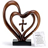 It Takes Three Heart and Cross Brown 8.5 x 9.5 Resin Stone Pedestal Table Top Decoration