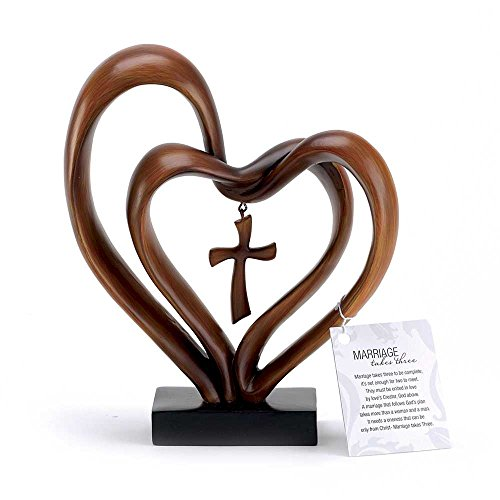 Figurine Heart (It Takes Three Heart and Cross Brown 8.5 x 9.5 Resin Stone Pedestal Table Top Decoration)