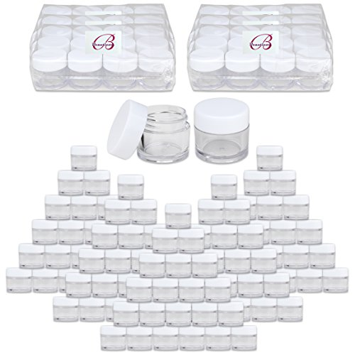 Beauticom High-Graded Quality 7 Grams/7 ML (Quantity: 1440 Packs) Thick Wall Crystal Clear Plastic LEAK-PROOF Jars Container with White Lids for Cosmetic, Lip Balm, Lip Gloss, Creams, Lotions, Liquid by Beauticom®