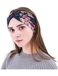 5 Pack Women Headbands Floral Turban Head Wrap Elastic Cross Hair Band