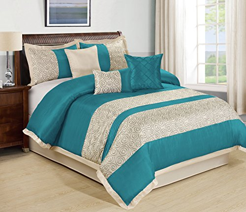 Circles King Comforter Set (7 Piece Liverpool Jacquard Circle Patchwork Comforter Set 4 Colors Queen King Burgundy Teal Oive Blue (Cal.King, Teal))