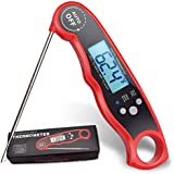 PureDazz Instant Read Cooking Thermometer, Waterproof Digital Meat Thermometer Super Fast Food thermometer with Collapsible Probe LCD for BBQ Grill Cooking Smoker Liquid … (Chili Red)