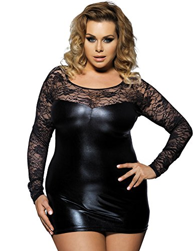 Maxde Women's Sexy Plus Size Lingerie Bodysuit for Sex Long Sleeve Lace Faux Leather Splice Baby Dolls for Women (6XL=US 20)