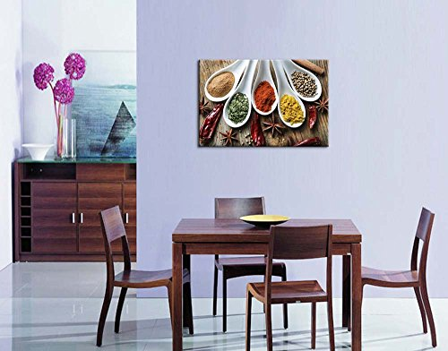 Still Life Various of Spices on Rustic Wooden Table Food Kitchen Concept Wall Decor ation