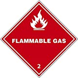 DL2ALV National Marker Dot Shipping Label, Flammable Gas 2, 4 Inches x 4 Inches, Ps Vinyl 500/Roll