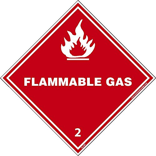 DL2ALV National Marker Dot Shipping Label, Flammable Gas 2, 4 Inches x 4 Inches, Ps Vinyl 500/Roll by National Marker