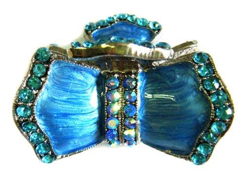 womens-rhinestone-epoxy-enamel-metal-claw-hair-clip-antique-silver-imc2050-blue