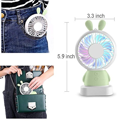 RingRingshop®® Handheld Small Fan Portable Rechargeable Mini Cooling Fan Multi-color LED Light Linglong rabbit Fan Standable Hanging Fan Gifts for Home Travel Indoor Outdoor Baby Kids (Green Rabbit) by RingRingshop® (Image #4)