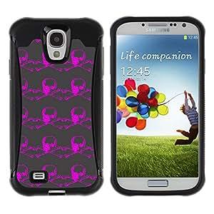 Qstar Arte & diseño Anti-Slip Shockproof TPU Fundas Cover Cubre Case para SAMSUNG Galaxy S4 IV / i9500 / i9515 / i9505G / SGH-i337(Violet Skull)