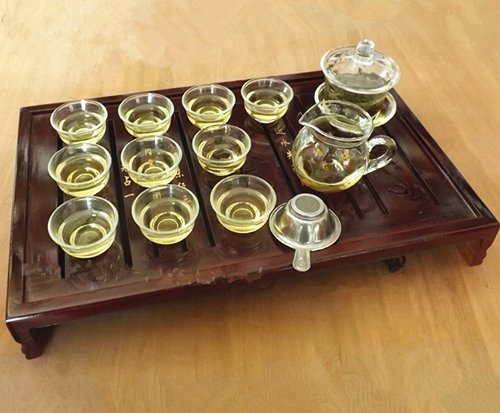 Sado Glass Gaiwan Gongfu Tea Set / Chinese Tea Cup(set of 13/glass)
