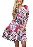 ANDUUNI Womens Round Neck 3 4 Sleeve Floral Print Tunic T-Shirt Dresses Swing Midi Dress with Pockets