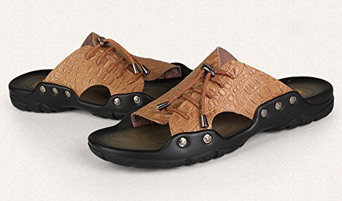 Mobnau Mens Leather Indoor Outdoor Fashion Casual Sandals Khaki SbWtiHDqB