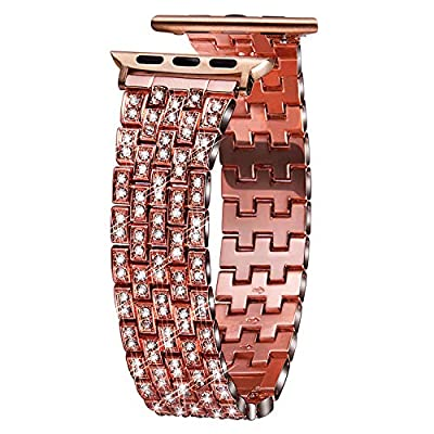 VIQIV Bling Bands for Compatible Apple Watch Band 38mm 40mm 42mm 44mm iWatch Series 4 3 2 1, Luxury Diamond Bracelet Metal Wristband Strap for Women from VIQIV