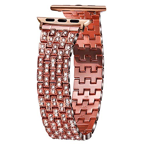 VIQIV Bling Bands for Compatible Apple Watch Band 38mm 40mm 42mm 44mm iWatch Series 4 3 2 1, Dressy Diamond Bracelet Rhinestone Metal Wristband Strap for Women Rose Gold