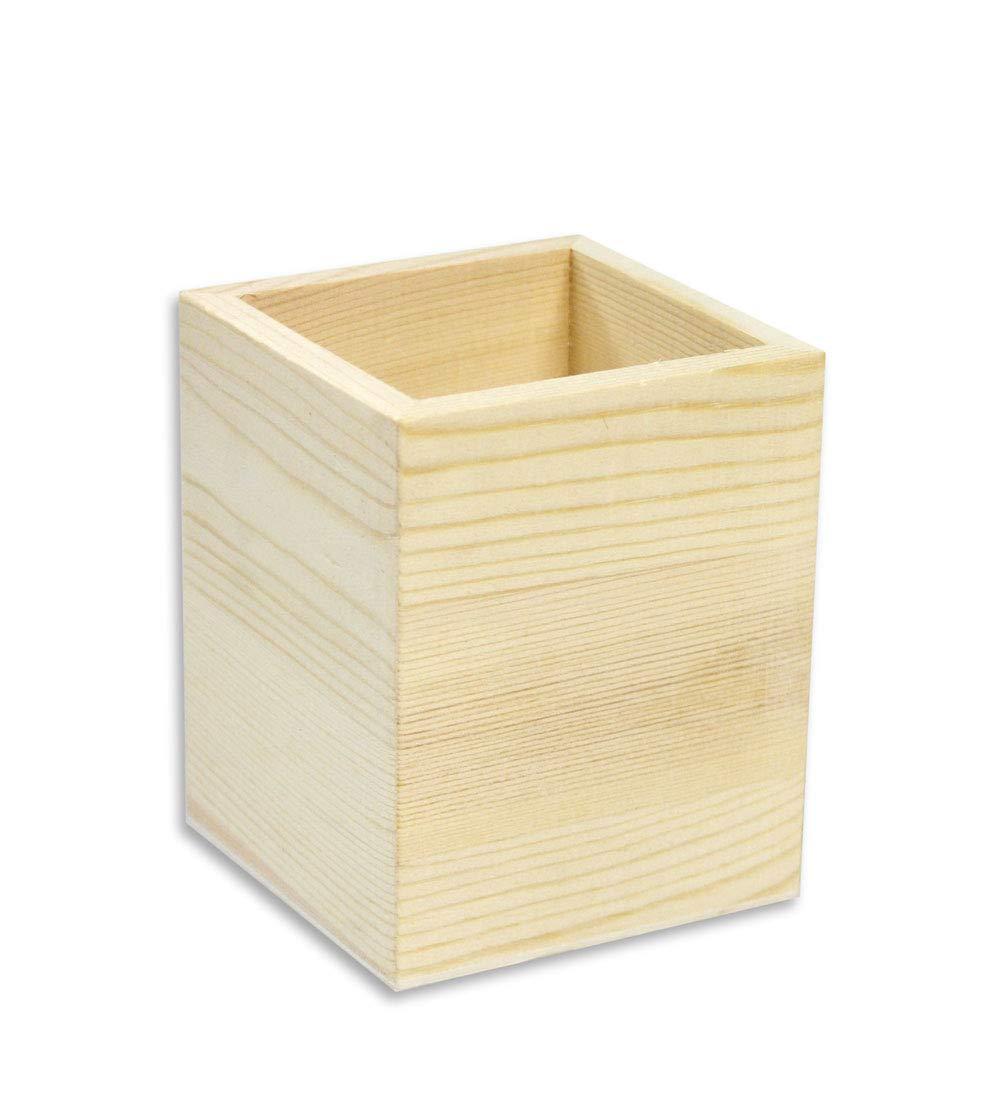 Vetrineinrete/® Portapenne quadrato in legno da scrivania portaoggetti organizer contenitore per cancelleria personalizzabile per decoupage pittura porta penna da casa ufficio G6