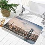 YOLIYANA Water Absorption Non-Slip Mat,NYC Decor,for Corridor Study Room Bathroom,23.62'x35.43',Manhattan Bridge and The New York