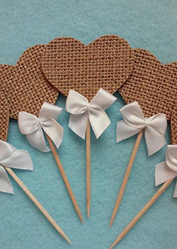 Rustic Burlap Wedding Cupcake Toppers 24 pack by Little Factory Crafts