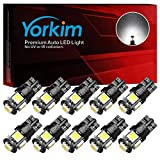 Yorkim 194 LED Bulbs Xenon White 6000k Super Bright Newest 5th Generation, T10 LED Bulbs, 168 LED Bulb, LED Bulbs for Car Interior Dome Map Door Courtesy License Plate Lights W5W 2825, Pack of 10