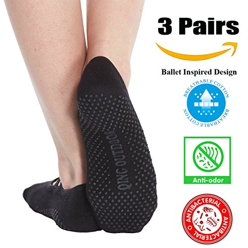 Review Women's No Show Low Cut Hospital Slipper Socks Great for Barre Pilates Yoga with Non Skid Grips Pack of 3, Black, One Size