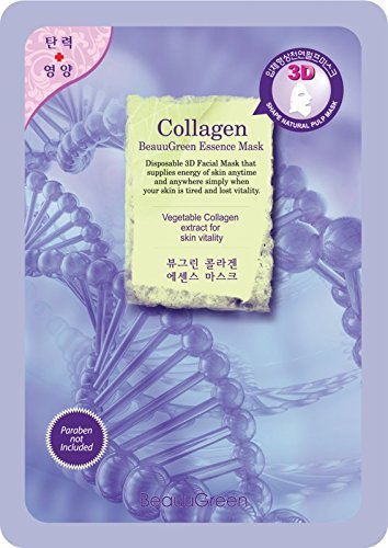 BeauuGreen Korea Collagen Essence 3D Face Mask Sheet, 23 g
