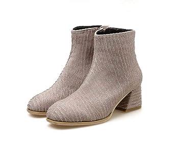 Botines Mujer Botín Martin Botín 6Cm Grueso Tela Botas Cortas Casual Corte Zapatos EU Tamaño 35