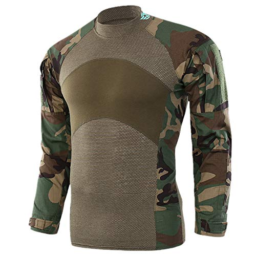 HAN WILD Men's Camouflage Combat Shooting Shirt Long Sleeve Airsoft Paintball