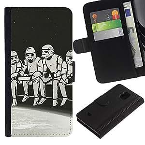Protector de cuero de la PU de la cubierta del estilo de la carpeta del tirón BY RAYDREAMMM - Samsung Galaxy S5 Mini, SM-G800 - Strom Trooper Almuerzo - Iconic