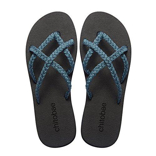 chitobae Flip Flops Sandal for Women Evergreen 8 B(M) US