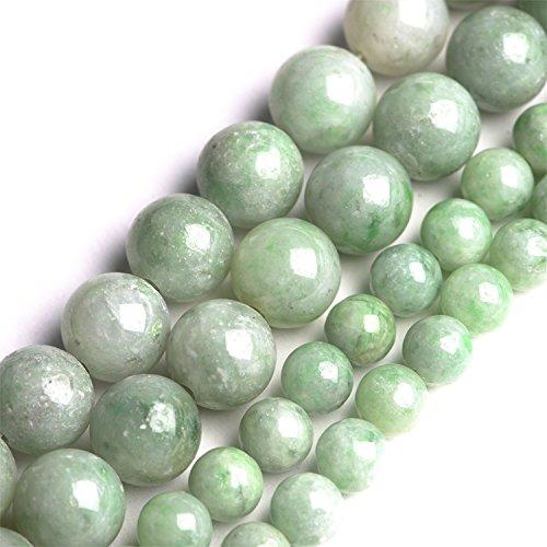 100% Natural Stone Round Beads 16'' For Making Jewelry (6mm, QINGHAI jade) (6mm Jade Beads)