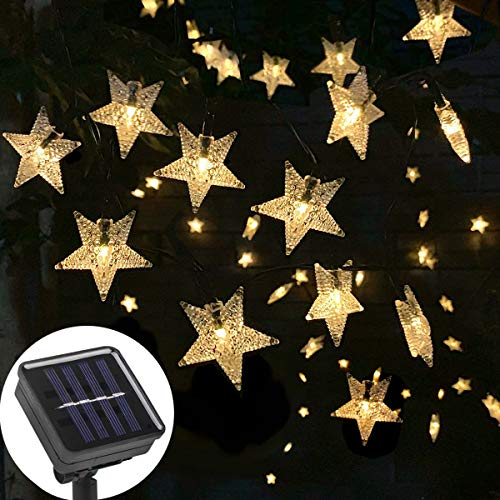 Ousome Solar Twinkle Star String Lights, 40ft 100 LED 8 Modes Solar Powered Outdoor Waterproof Starry Fairy Lights for Garden, Lawn, Patio, Backyard, Christmas Tree (Warm White) (Twinkle Tree Christmas)