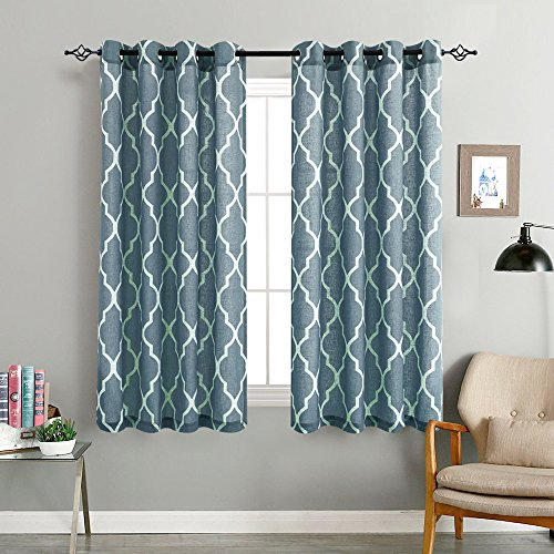 Print Curtains 54 inch Lattice Moroccan Tile Flax Linen Blend Curtain Textured Grommet Quatrefoil Window Treatment Set for Living Room Kitchen - (Blue, 2 Panels) (Kitchen Panels Curtain)