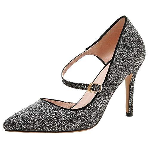Donne Zanpa Pumps Glitter Stiletto Moda Shoes Tacchi D'orsay Nero 6rwSdr4qxf