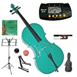 Merano 4/4 Full Size Green Student Cello with Bag and Bow+2 Sets of Strings+Cello Stand+Black Music Stand+Metro Tuner+Rosin+Rubber Round Mute