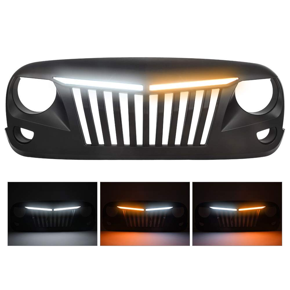 MICTUNING Front Grille Grill with Lights For Jeep Wrangler Rubicon Sahara Sport JK 2007-2017 Upper Replacement