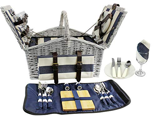 (HappyPicnic 'Huntsman' Willow Picnic Hamper for 4 Persons with 'Built-in' Insulated Cooler, Wicker Picnic Basket with Canvas Stripe Lining, Willow Picnic Set, Picnic Gift Basket (Navy Stripe))