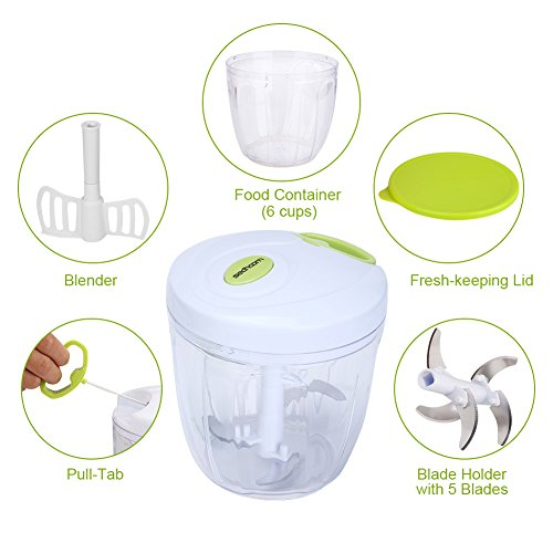 Manual Food Chopper 5 Blades 1000 ml,Sedhoom Powerful Easy Pull Upgraded Hand Held Vegetable Onion Chopper/Food Processor/Blender