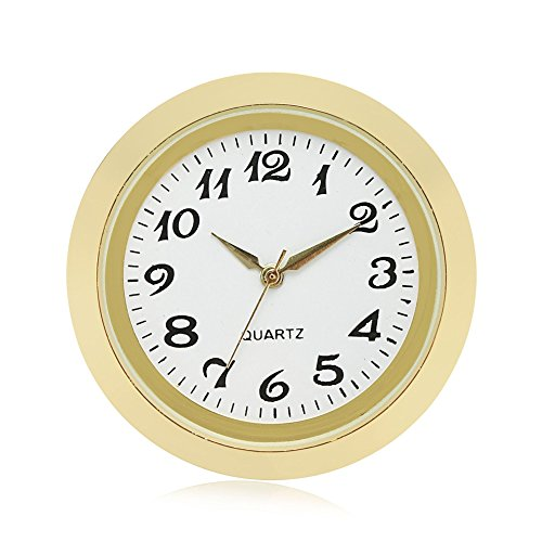 ShoppeWatch Mini Clock Insert Quartz Movement Round 1 7/16 (35mm) Miniature Clock Fit Up White Dial Gold Tone Bezel Arabic Numerals CK094GD