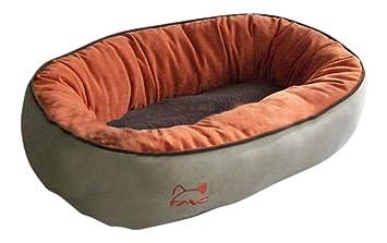 BUNNY BUSINESS - Cama de perro aterciopelada redonda de ante sintético con forro polar para gatos y perros tamaño grande: Amazon.es: Productos para mascotas