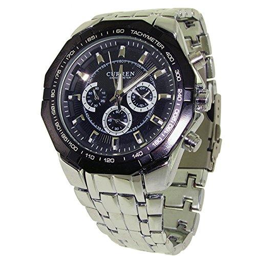 DP Design® Reloj Hombre Cronógrafo Crono Nautica playa acero despertador Watch Negro CURREN D08: Amazon.es: Relojes