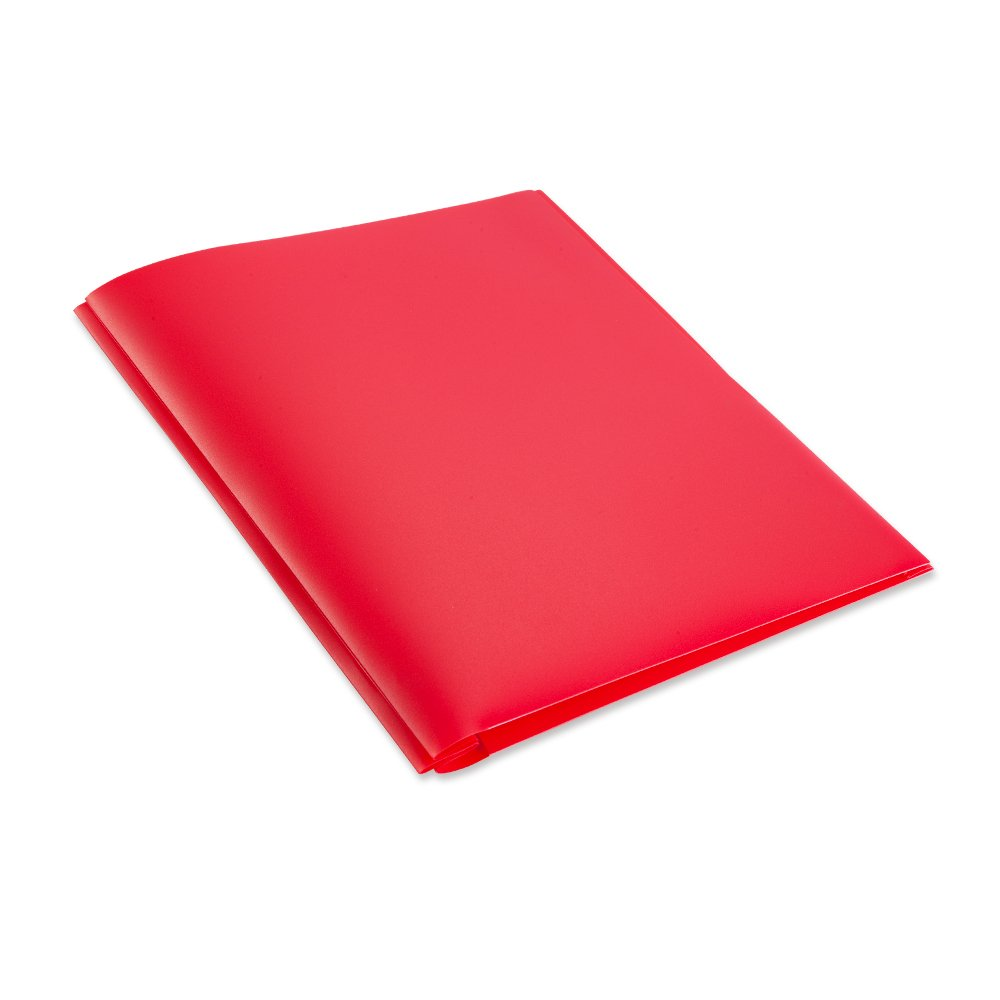 COMIX 2 Pocket Letter Size Poly File Portfolio Folder with Three-Prong Fastners - 12 Pieces (Red) A2139RD by Comix