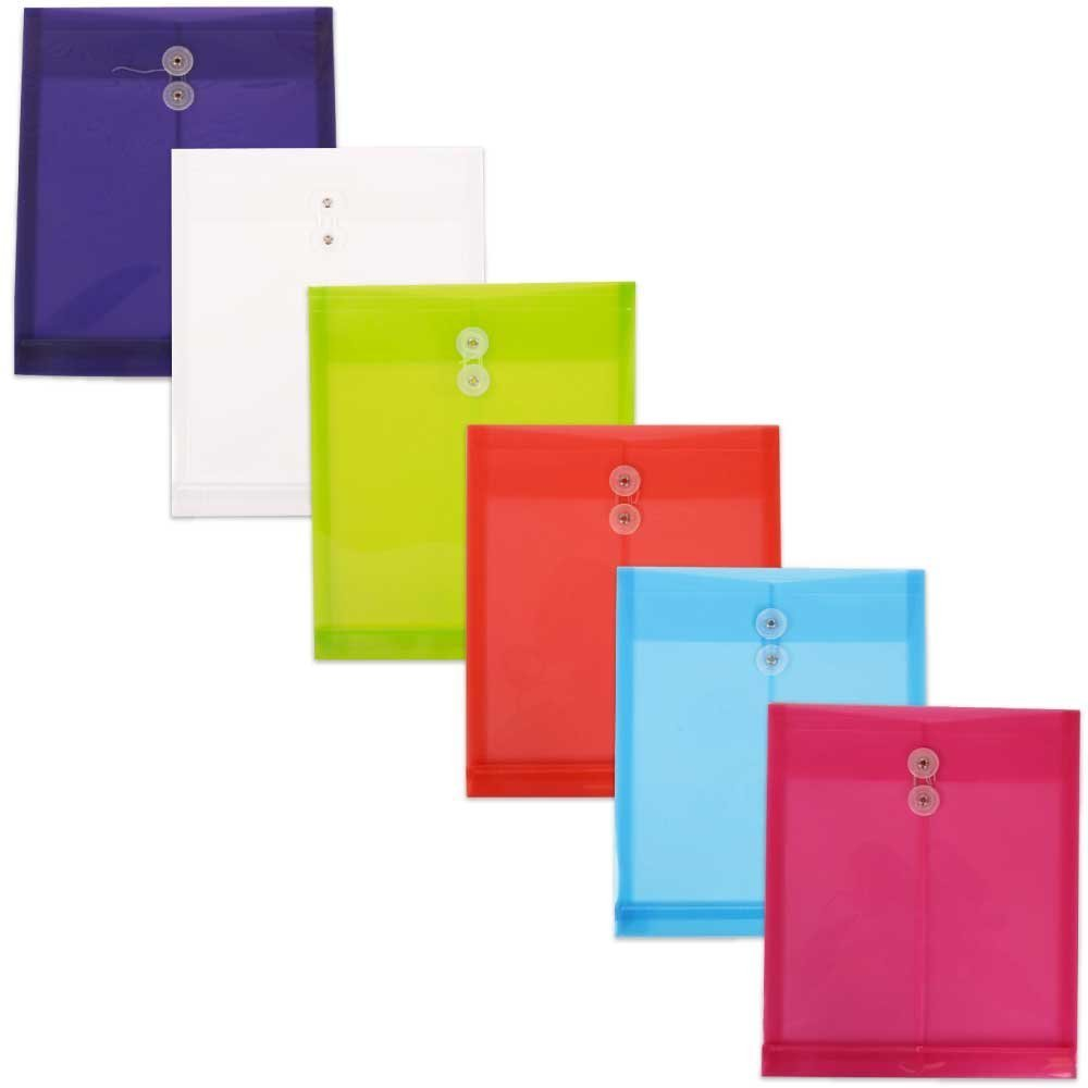 JAM PAPER Plastic Envelopes with Button & String Tie Closure - Letter Open End - 9 3/4 x 11 3/4 - Assorted Colors - 6/Pack by JAM Paper (Image #6)