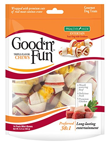 - Good 'N' Fun Triple Flavor Mini Rawhide Chews, 14-Count