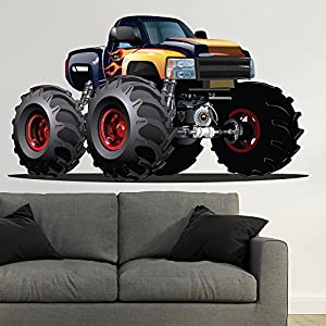 Black Yellow Monster Truck Wall Sticker Vehicle Wall Decal Boys Bedroom  Decor Available In 8 Sizes Large Digital