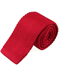 Men's Knit Solid Skinny Tie Polyester Square End 2 Inch Necktie Tie