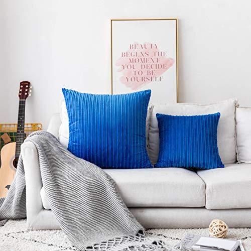 UGASA Luxurious Solid Shiny Short Plush Velvet Decorative Throw Pillowcase Cushion Cover, 1 Pc, 24x24inch, Royal Blue