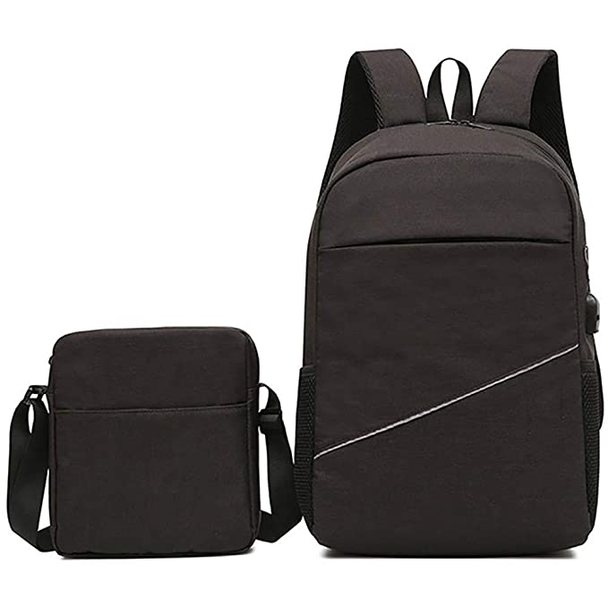 ZhangHongJ,Mochila para portátil Pure Business + bolso de hombro individual(color:NEGRO