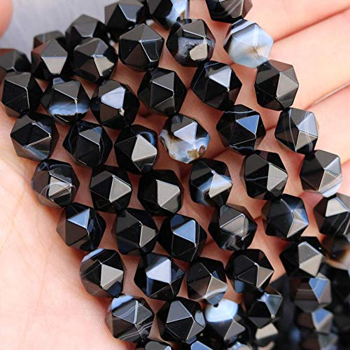 Black Banded Agate, Rose Cut, Diamond Cut, Faceted Beads, Gemstone Beads, 10mm x 10mm, Full Strand.