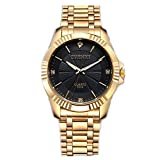 CHENXI Men's Fashion Classic Quartz Analog Steel Gold Wrist Watch(Black)