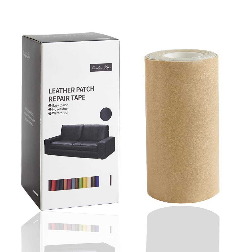 Leather Repair Tape kit Patch Heavy Duty, Retro Cream 4x60 inch Self-Adhesive for Sofas, Couches, Car Seats, Handbags, Furniture, Drivers Seat, Jackets, First Aid Vinyl Repair kit Multiple Colors