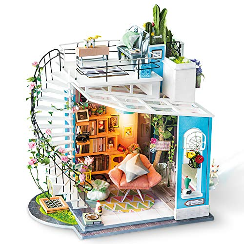 - Rolife Dollhouse with Furniture Wooden Miniature House Kit DIY Dora's Loft